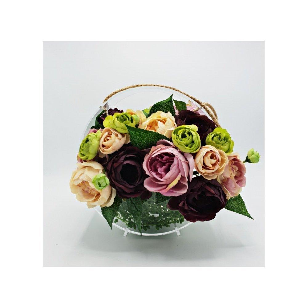 Cutie pentru flori acrilica mica rotunda