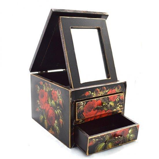Cutie bijuterii cu trandafiri rosii, oglinda si doua sertare