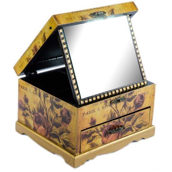 Cutie bijuterii cu un sertar, oglinda si design in forma de flori