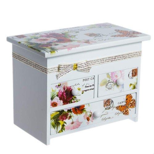 Cutie bijuterii din lemn cu fundita si motive florale