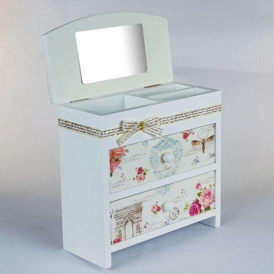 Cutie bijuterii, imprimeu tip carte postala, model cu sertare si oglinda