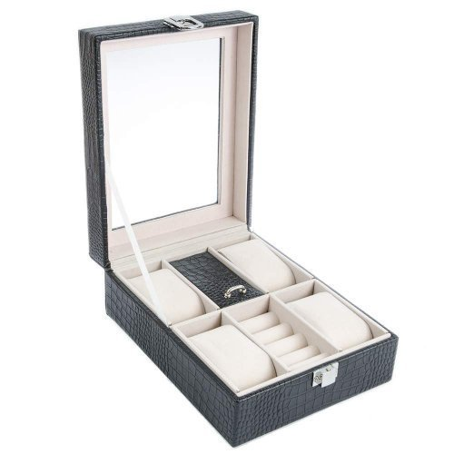 Cutie ceasuri si bijuterii design croco negru