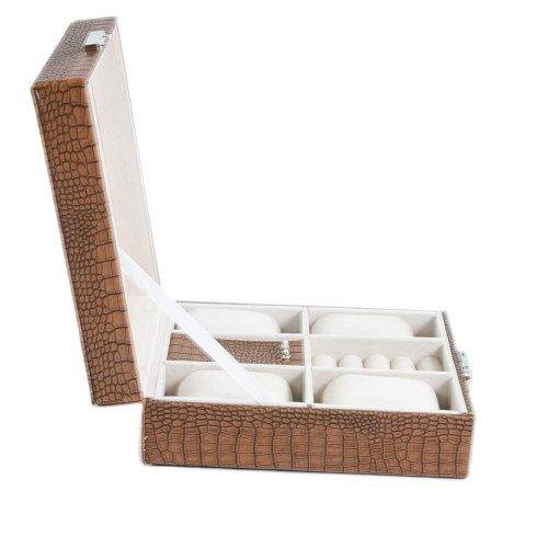Cutie ceasuri si bijuterii design maro croco mat