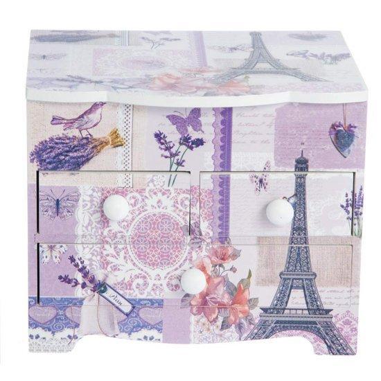 """Cutie de Bijuterii """"Turnul Eiffel"""" lavanda si fluturi cu 3 sertare"""