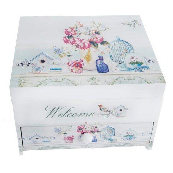 Cutie de Bijuterii Welcome cu sertar si oglinda model flori, pasari, si colivie