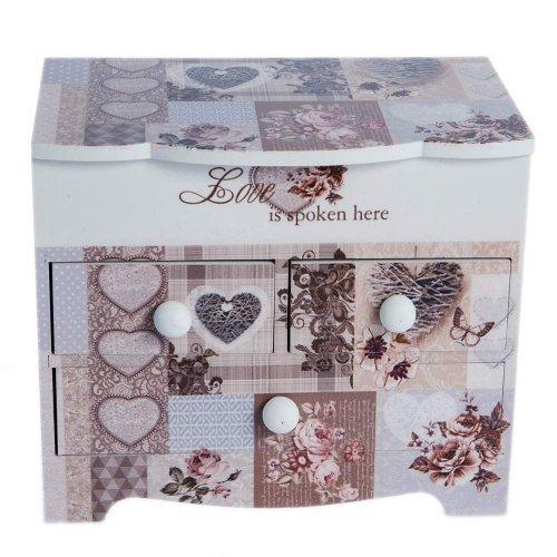 Cutie De Bijuterii Love Design Romantic Cu Inimioare Si 3 Sertare