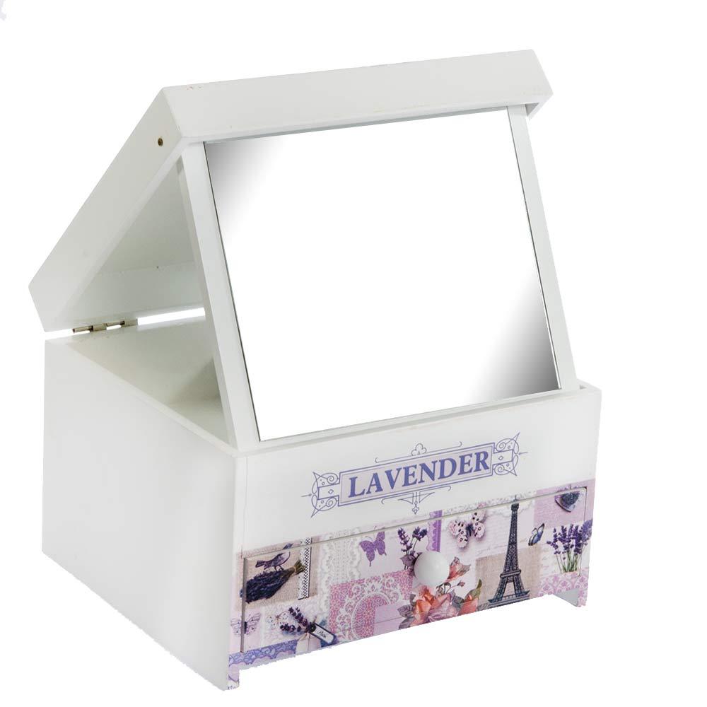 Cutie de bijuterii alba din lemn Lavender cu capac pictat