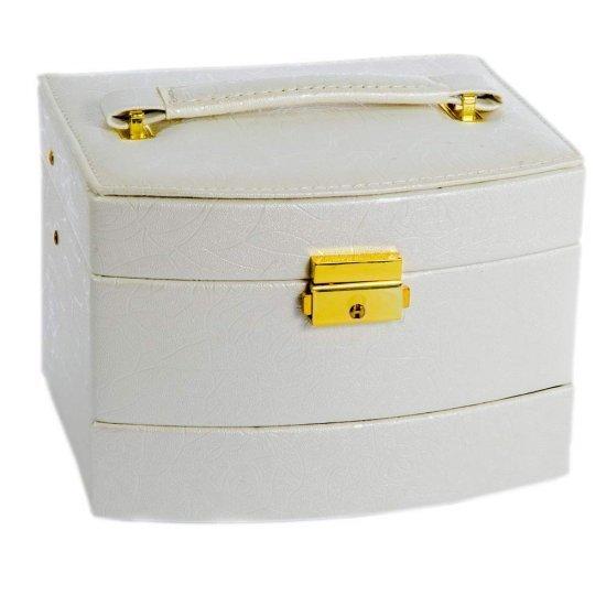 Cutie de bijuterii crem deschis cu detalii aurii si maner cadouri femei