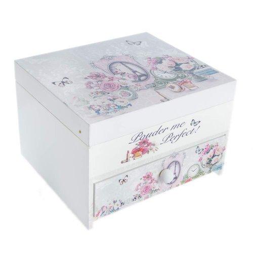 Cutie De Bijuterii Cu Oglinda Mare Design Romantic Trandafiri, Turn Eiffel, Si Fluturi