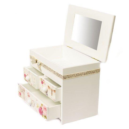 Cutie de bijuterii, cu oglinda si sertare, imprimeu trandafiri