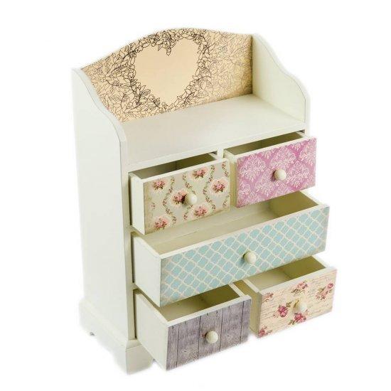 Cutie de bijuterii cu printuri diferite si 5 sertare
