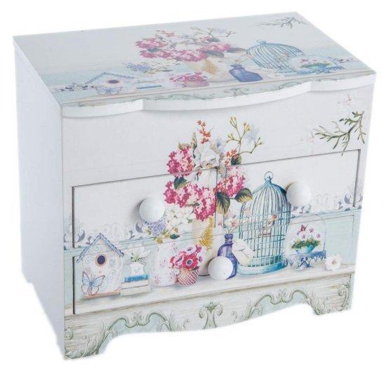 Cutie de bijuterii dulapior cu 3 sertare design flori si colivii