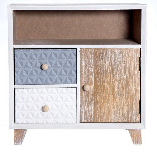 Cutie din lemn cu 2 sertare si spatiu de depozitare cu usita
