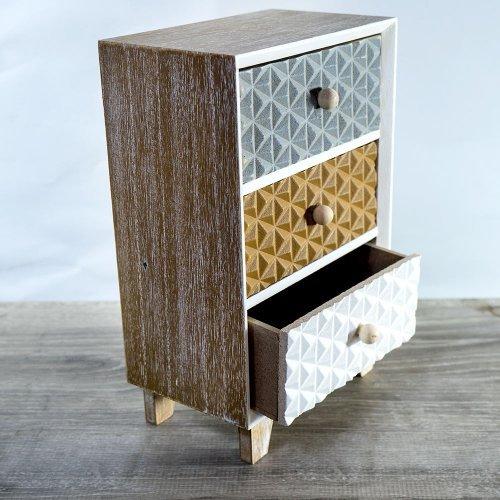 Cutie din lemn cu 3 sertare - model vintage