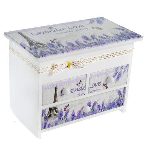 Cutie din lemn pentru bijuterii Lavender Love cu trei sertare