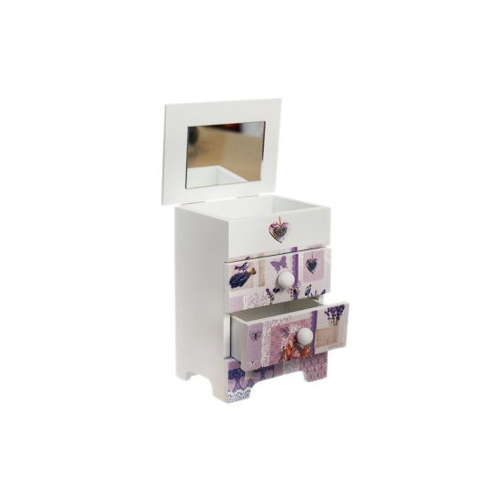 Cutie din lemn pentru bijuterii cu 5 sertare