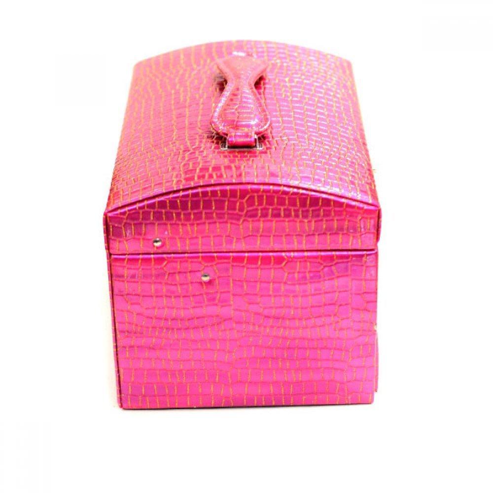 Cutie din piele ecologica pink cu sertare