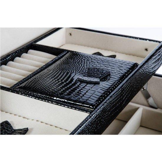 Cutie neagra croco cu maner si inchizatoare cu cifru