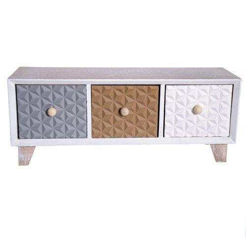 Cutie pentru bijuterii cu 3 sertare din lemn - model lat