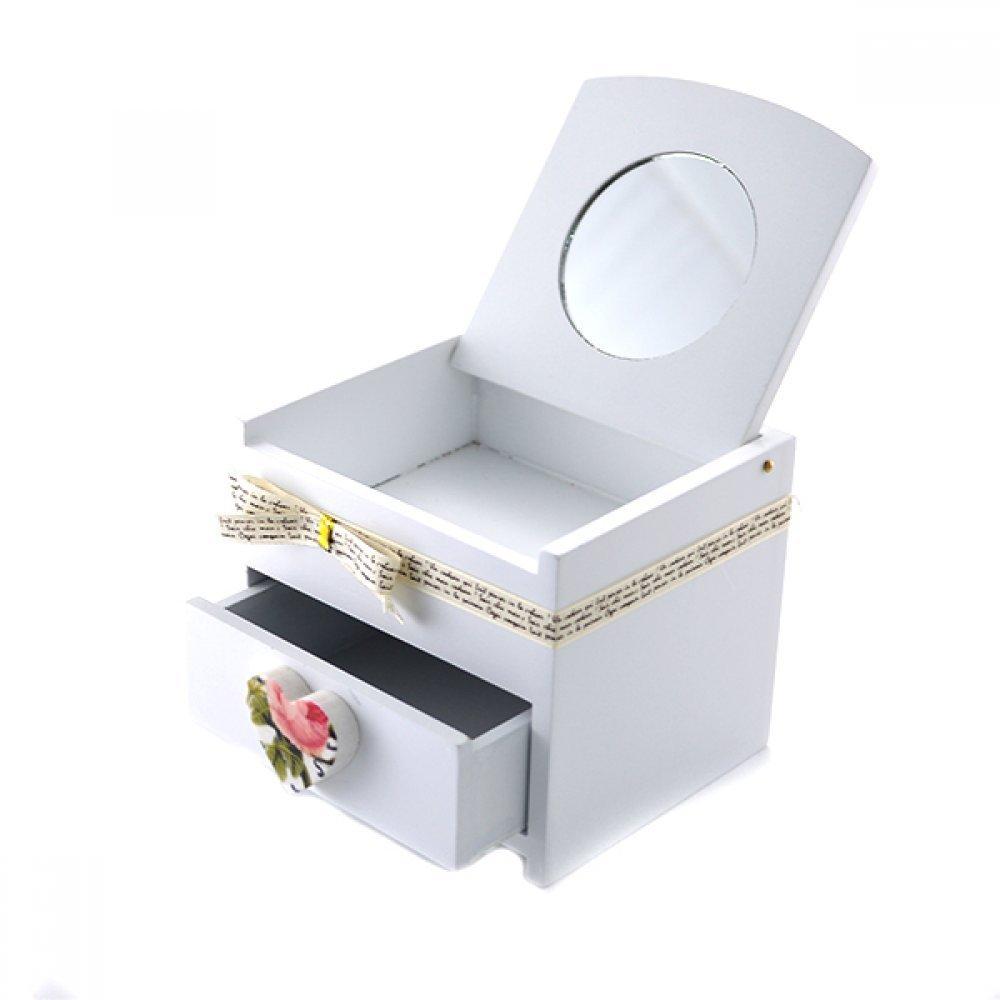 Cutie pentru bijuterii cu maner in forma de inimioara si oglinda