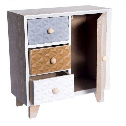 Cutie pentru bijuterii cu sertare si usita din lemn