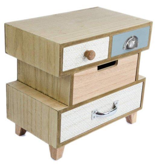 Cutie pentru bijuterii din lemn model cu 4 sertare