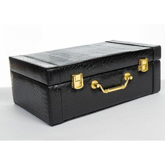 Cutie pentru bijuterii din piele ecologica neagra
