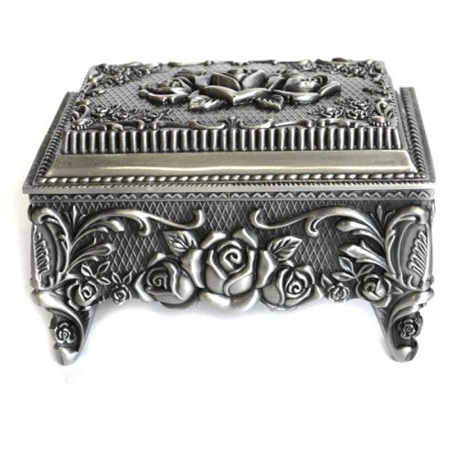 Cutie pentru bijuterii stil victorian cu trandafiri din antimoniu