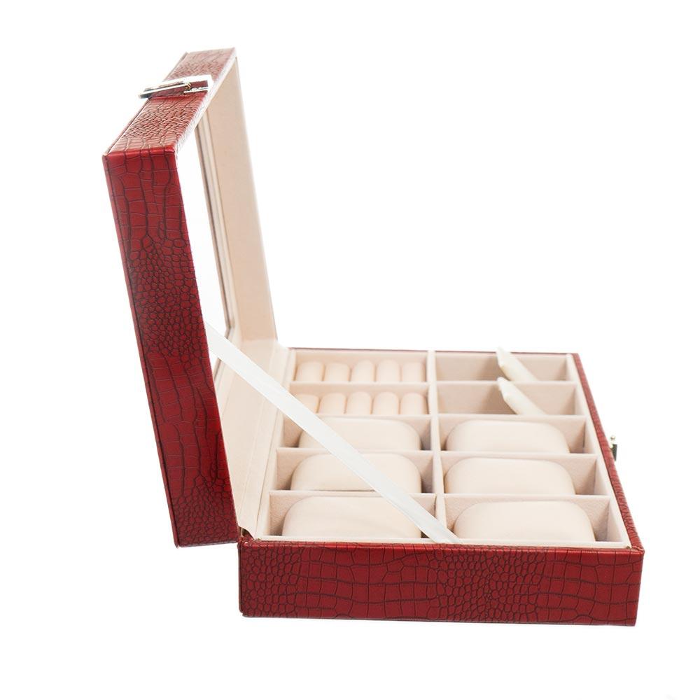 Cutie rosie pentru 6 ceasuri cercei si inele