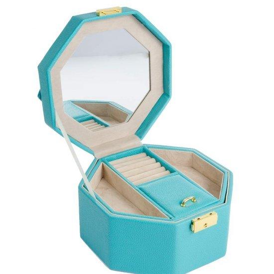 Cutie turcoaz pentru bijuterii cu maner si oglinda