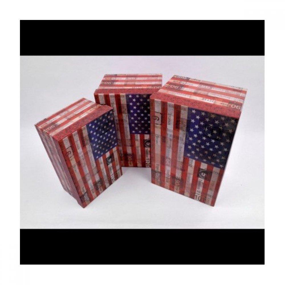 Cutii Carton Pentru Cadou Dreptunghiulare Decor American Flag 3/set