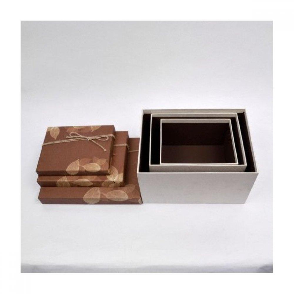 Cutii Carton Pentru Cadou Dreptunghiulare Decor Frunze si Sfoara 3/set