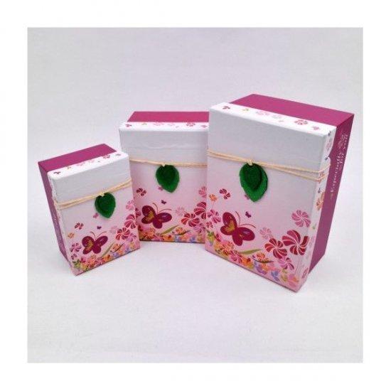 Cutii Carton Pentru Cadou Dreptunghiulare Decor Sfoara Si Frunza Fetru 3/set