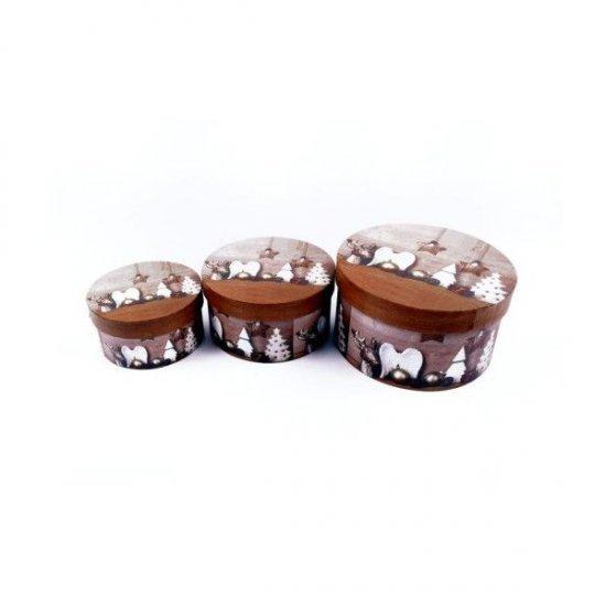 Cutii Carton Pentru Cadou Motiv Craciun Maro 3/set Rotunde
