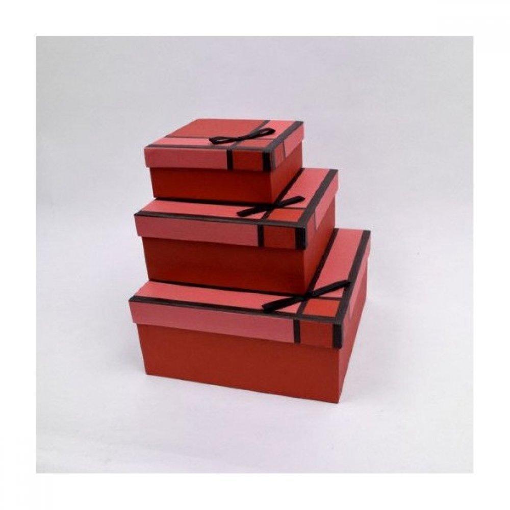 Cutii Carton Pentru Cadou Patrate Uni Cu Funda Saten 3/set