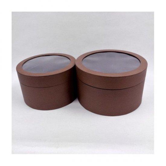Cutii Carton Pentru Cadou Rotunde Cu Fereastra Acetofan 2/set