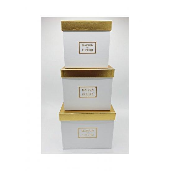 Set 3 cutii pentru flori Maison des Fleurs alb cu capac auriu