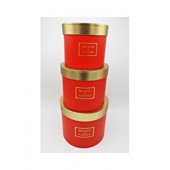 Set cutii pentru flori rotunde rosu cu capac auriu Royal