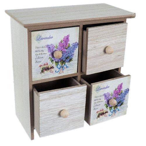 Dulapior din lemn pentru depozitarea bijuteriilor cu 4 sertare