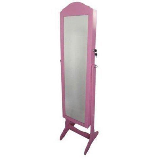 Dulap roz din lemn, cu oglinda, pentru depozitarea bijuteriilor