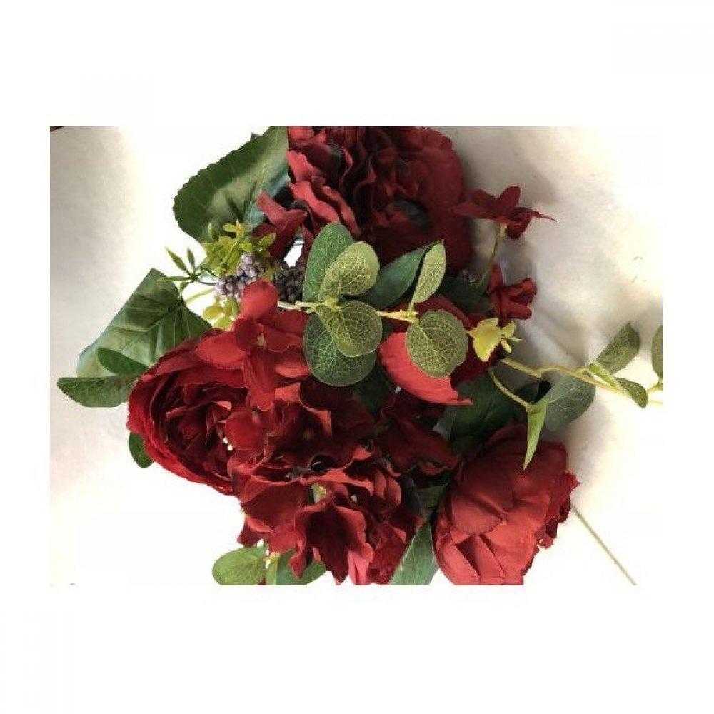 Flori Artificiale Buchet 5 Bujori 1Boboc 2Hortensii si 3Fire Eucalipt Grena