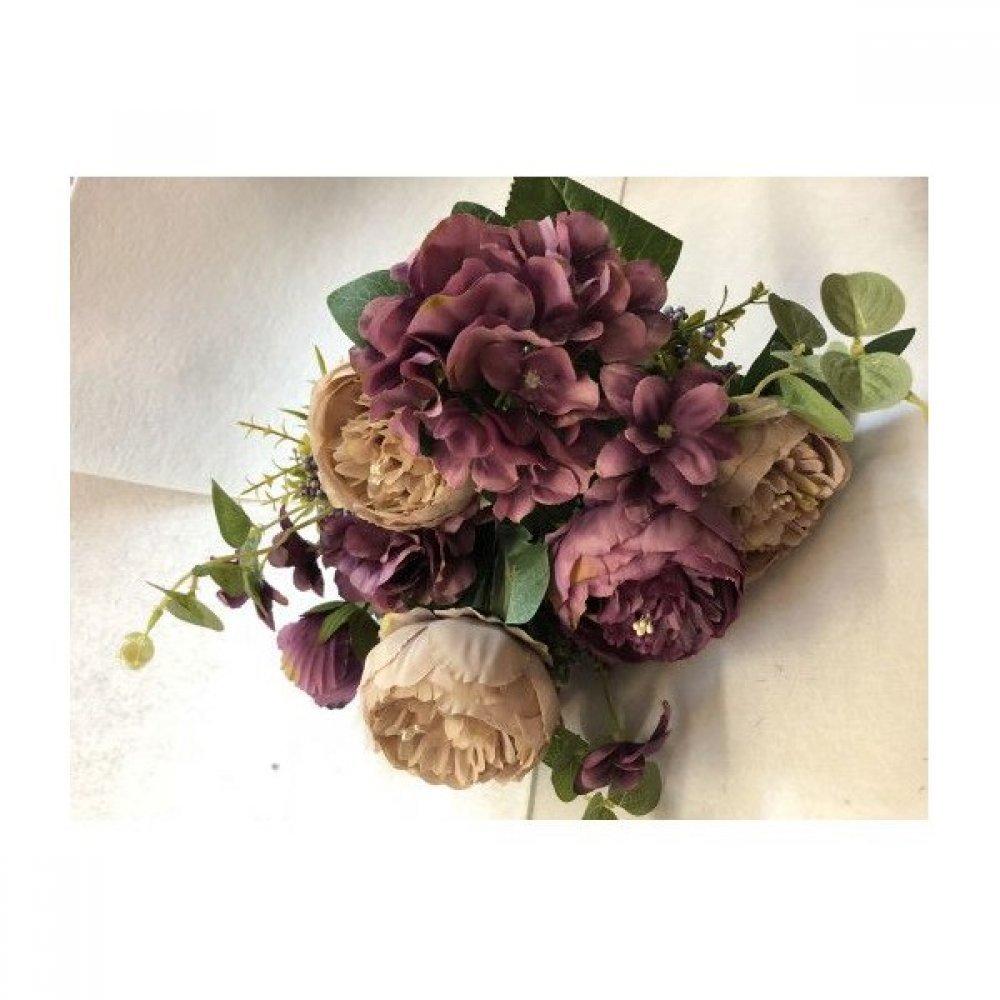 Flori Artificiale Buchet 5 Bujori 1Boboc 2Hortensii si 3Fire Eucalipt Mov- Capucino