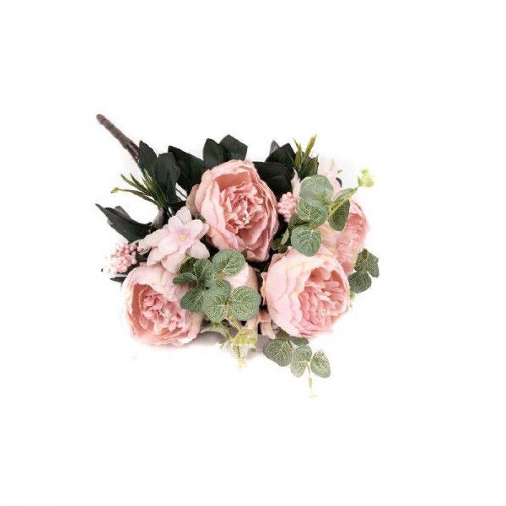 Flori Artificiale Buchet 5 Bujori 1 Boboc 5 Eucalipt Roz