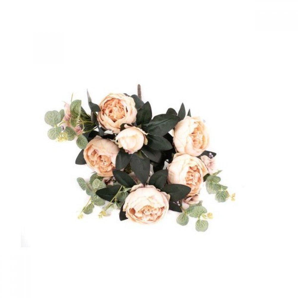 Flori Artificiale Buchet 5 Bujori 1Boboc si 5Fire Eucalipt Bej