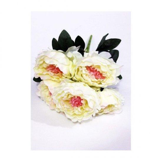 Flori Artificiale Buchet 5 Bujori Crem-Roz