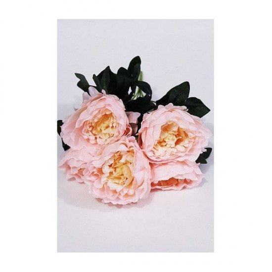 Flori Artificiale Buchet 5 Bujori Roz-Crem