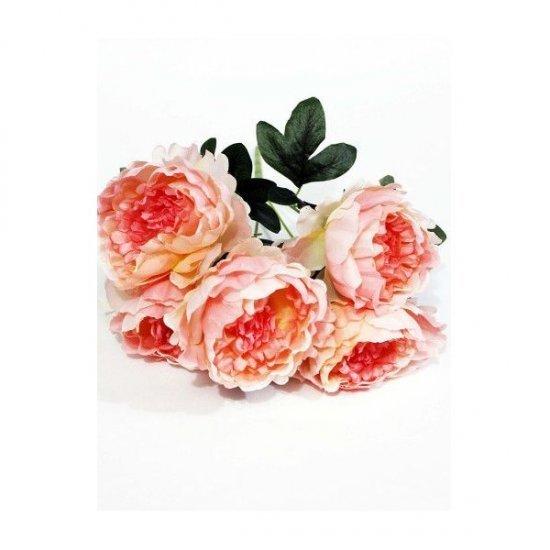 Flori Artificiale Buchet 5 Bujori Somon