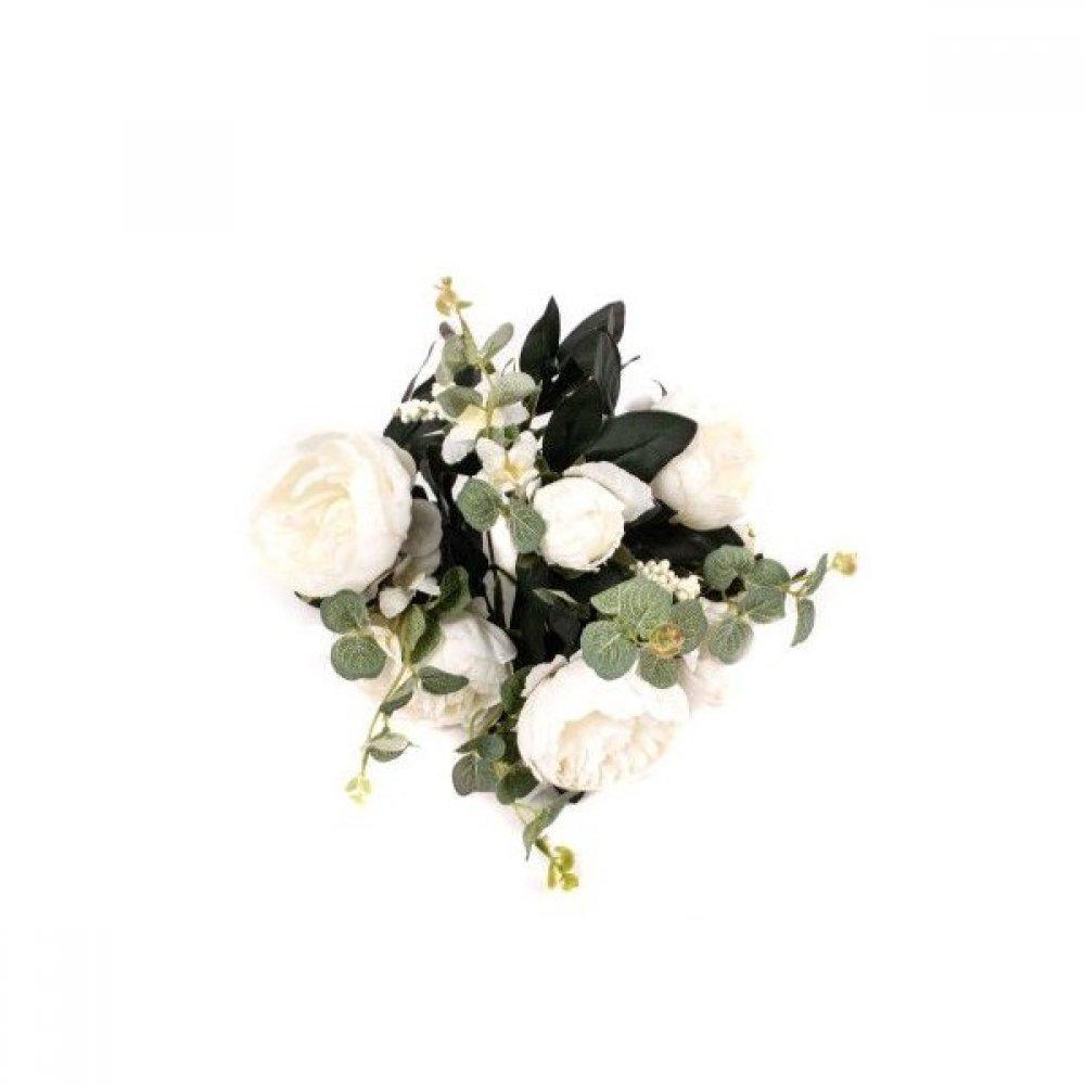 Flori Artificiale Buchet 5 bujori 1 boboc, 5Fire eucalipt alb