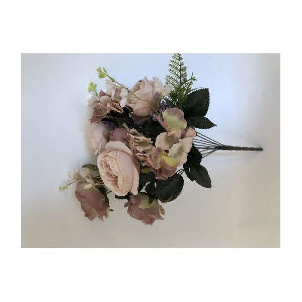 Flori Artificiale Buchet 6 Trandafiri 2 Hortensii si 3Fire Flori Cu Feriga Capucino