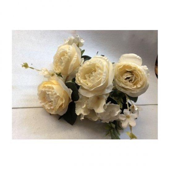 Flori Artificiale Buchet 6 Trandafiri 2 Hortensii si 3Fire Flori Cu Feriga Crem
